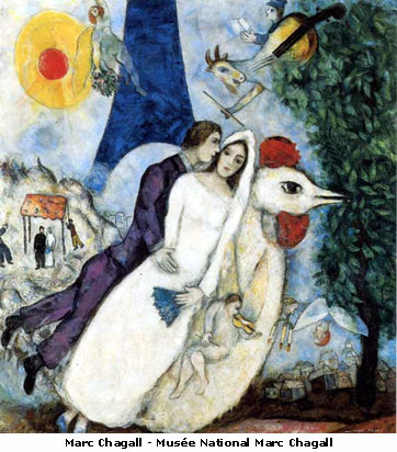 Marc Chagall- Fiancees of the eiffel tower